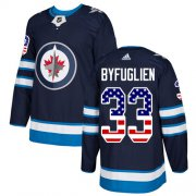 Wholesale Cheap Adidas Jets #33 Dustin Byfuglien Navy Blue Home Authentic USA Flag Stitched Youth NHL Jersey
