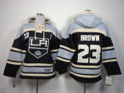 Wholesale Cheap Kings #23 Dustin Brown Black Sawyer Hooded Sweatshirt Stitched Youth NHL Jersey