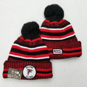 Wholesale Cheap Falcons Team Logo Red 100th Season Pom Knit Hat YD
