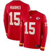 Wholesale Cheap Men's Chiefs #15 Patrick Mahomes Red Team Color Men's Stitched NFL Limited Therma Long Sleeve Jersey