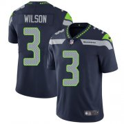 Wholesale Cheap Nike Seahawks #3 Russell Wilson Steel Blue Team Color Men's Stitched NFL Vapor Untouchable Limited Jersey