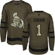 Wholesale Cheap Adidas Senators #1 Mike Condon Green Salute to Service Stitched Youth NHL Jersey