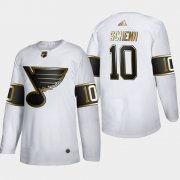 Wholesale Cheap St. Louis Blues #10 Brayden Schenn Men's Adidas White Golden Edition Limited Stitched NHL Jersey