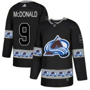 Wholesale Cheap Adidas Avalanche #9 Lanny McDonald Black Authentic Team Logo Fashion Stitched NHL Jersey