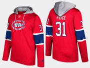 Wholesale Cheap Canadiens #31 Carey Price Red Name And Number Hoodie