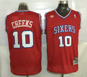 Wholesale Cheap Men\'s Philadelphia 76ers #10 Maurice Cheeks Red Hardwood Classics Soul Swingman Throwback Jersey