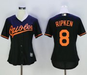 Wholesale Cheap Orioles #8 Cal Ripken Black Women's Alternate Stitched MLB Jersey