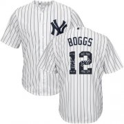 Wholesale Cheap Yankees #12 Wade Boggs White Strip Team Logo Fashion Stitched MLB Jersey