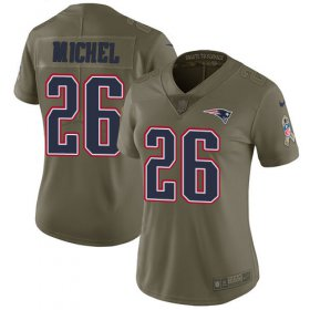 Wholesale Cheap Nike Patriots #26 Sony Michel Olive Women\'s Stitched NFL Limited 2017 Salute to Service Jersey
