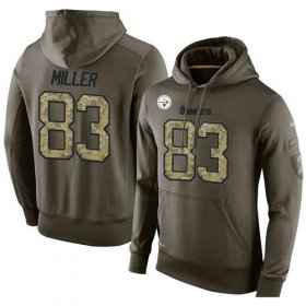 Wholesale Cheap NFL Men\'s Nike Pittsburgh Steelers #83 Heath Miller Stitched Green Olive Salute To Service KO Performance Hoodie