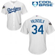 Wholesale Cheap Dodgers #34 Fernando Valenzuela White Cool Base 2018 World Series Stitched Youth MLB Jersey
