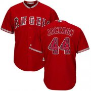 Wholesale Cheap Angels of Anaheim #44 Reggie Jackson Red Team Logo Fashion Stitched MLB Jersey