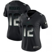 Wholesale Cheap Nike Packers #12 Aaron Rodgers Black Women's Stitched NFL Vapor Untouchable Limited Smoke Fashion Jersey