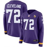 Wholesale Cheap Nike Vikings #72 Ezra Cleveland Purple Team Color Women's Stitched NFL Limited Therma Long Sleeve Jersey