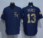 Wholesale Cheap Royals #13 Salvador Perez Denim Blue Salute to Service Stitched MLB Jersey