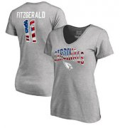 Wholesale Cheap Women's Arizona Cardinals #11 Larry Fitzgerald NFL Pro Line by Fanatics Branded Banner Wave Name & Number T-Shirt Heathered Gray