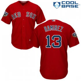 Wholesale Cheap Red Sox #13 Hanley Ramirez Red Cool Base 2018 World Series Stitched Youth MLB Jersey