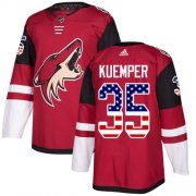 Wholesale Cheap Adidas Coyotes #35 Darcy Kuemper Maroon Home Authentic USA Flag Stitched NHL Jersey
