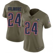 Wholesale Cheap Nike Patriots #24 Stephon Gilmore Olive Women's Stitched NFL Limited 2017 Salute to Service Jersey
