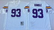 Wholesale Cheap Mitchell And Ness Vikings #93 John Randle White Throwback Stitched NFL Jersey