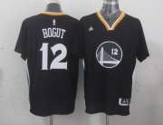 Wholesale Cheap Golden State Warriors #12 Andrew Bogut Revolution 30 Swingman 2014 New Black Short-Sleeved Jersey