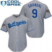 Wholesale Cheap Dodgers #9 Yasmani Grandal Grey Cool Base 2018 World Series Stitched Youth MLB Jersey