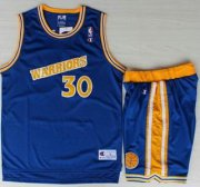 Wholesale Cheap Golden State Warriors #30 Stephen Curry Blue Hardwood Classics NBA Jerseys Shorts Suits