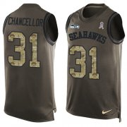 Wholesale Cheap Nike Seahawks #31 Kam Chancellor Green Men's Stitched NFL Limited Salute To Service Tank Top Jersey