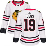 Wholesale Cheap Adidas Blackhawks #19 Jonathan Toews White Road Authentic Women's Stitched NHL Jersey