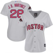 Wholesale Cheap Red Sox #28 J. D. Martinez Grey Road 2018 World Series Women's Stitched MLB Jersey
