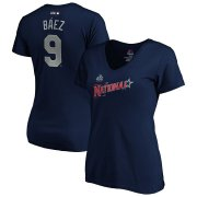 Wholesale Cheap National League #9 Javier Baez Majestic Women's 2019 MLB All-Star Game Name & Number V-Neck T-Shirt - Navy