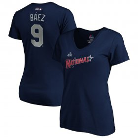 Wholesale Cheap National League #9 Javier Baez Majestic Women\'s 2019 MLB All-Star Game Name & Number V-Neck T-Shirt - Navy
