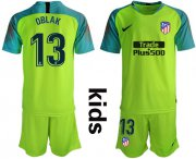 Wholesale Cheap Atletico Madrid #13 Oblak Shiny Green Goalkeeper Kid Soccer Club Jersey