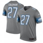 Wholesale Cheap Nike Lions #27 Justin Coleman Gray Men's Stitched NFL Limited Rush Jersey