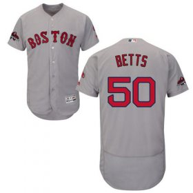 Wholesale Cheap Red Sox #50 Mookie Betts Grey Flexbase Authentic Collection 2018 World Series Stitched MLB Jersey