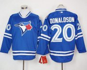 Wholesale Cheap Blue Jays #20 Josh Donaldson Blue Long Sleeve Stitched MLB Jersey