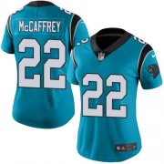 Wholesale Cheap Nike Panthers #22 Christian McCaffrey Blue Women's Stitched NFL Limited Rush Jersey