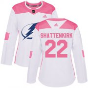 Cheap Adidas Lightning #22 Kevin Shattenkirk White/Pink Authentic Fashion Women's Stitched NHL Jersey