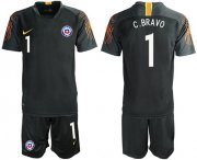 Wholesale Cheap Chile #1 C.Bravo Black Goalkeeper Soccer Country Jersey