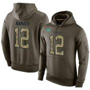 Wholesale Cheap NFL Men's Nike New York Jets #12 Joe Namath Stitched Green Olive Salute To Service KO Performance Hoodie