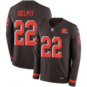Wholesale Cheap Nike Browns #22 Grant Delpit Brown Team Color Men's Stitched NFL Limited Therma Long Sleeve Jersey