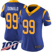 Wholesale Cheap Nike Rams #99 Aaron Donald Royal Blue Alternate Women's Stitched NFL 100th Season Vapor Limited Jersey