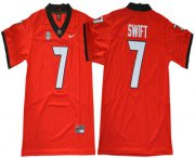 Wholesale Cheap Men's Georgia Bulldogs #7 D'Andre Swift Red Limited 2017 College Football Stitched Nike NCAA Jersey