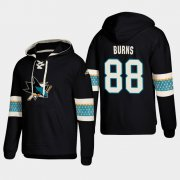 Wholesale Cheap San Jose Sharks #88 Brent Burns Black adidas Lace-Up Pullover Hoodie