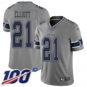 Wholesale Cheap Nike Cowboys #21 Ezekiel Elliott Gray Men's Stitched NFL Limited Inverted Legend 100th Season Jersey