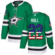 Wholesale Cheap Adidas Stars #22 Brett Hull Green Home Authentic USA Flag Stitched NHL Jersey