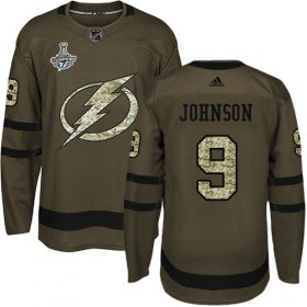 Cheap Adidas Lightning #9 Tyler Johnson Green Salute to Service Youth 2020 Stanley Cup Champions Stitched NHL Jersey