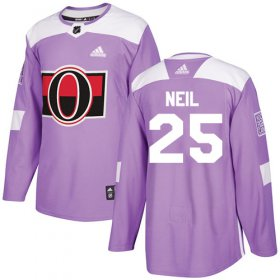 Wholesale Cheap Adidas Senators #25 Chris Neil Purple Authentic Fights Cancer Stitched Youth NHL Jersey