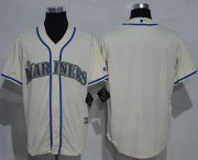 Wholesale Cheap Mariners Blank Cream New Cool Base Stitched MLB Jersey