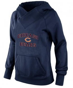 Wholesale Cheap Women\'s Chicago Bears Heart & Soul Pullover Hoodie Navy Blue